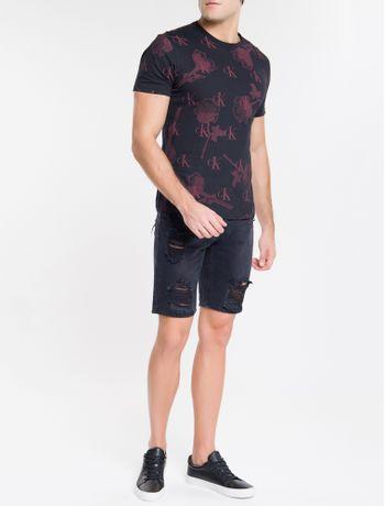 Camiseta-Ckj-Mc-Estampa-Corrida-Rosas-Ck---Preto