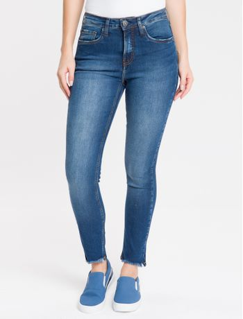 Calca-Jeans-Five-Pockets-Mid-Rise-Slim---Marinho
