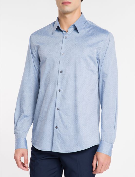 Camisa-Regular-Ml-Maquinetada-Fio-40---Azul-Medio-