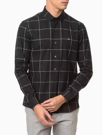 Camisa-Slim-Ml-Fio-Grid-Sustainable-Excl---Preto-