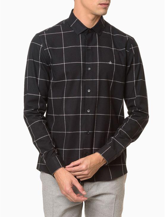 Camisa-Slim-Ml-Fio-Grid-Sustainable-Excl---Preto-