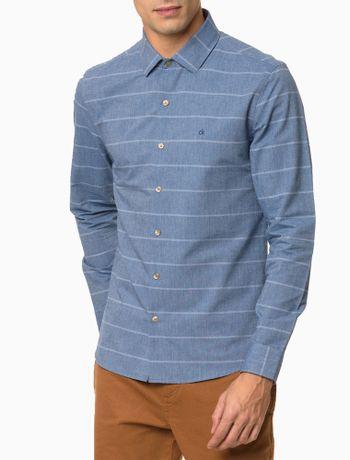 Camisa-Slim-Ml-Fio-60-Maxi-Listrado---Azul-Medio-