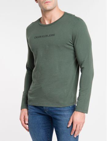 Camiseta-Ckj-Ml-Logo-Basico---Militar-