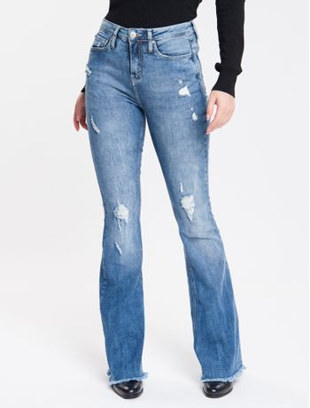 Calca-Jeans-Five-Pockets-High-Rise-Flare---Azul-Medio-