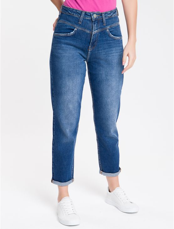 Calca-Jeans-High-Rise-Straight-Com-Recor---Azul-Medio-