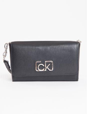 Bolsa-Calvin-Klein-De-Couro-Fivela-Ck---Preto-