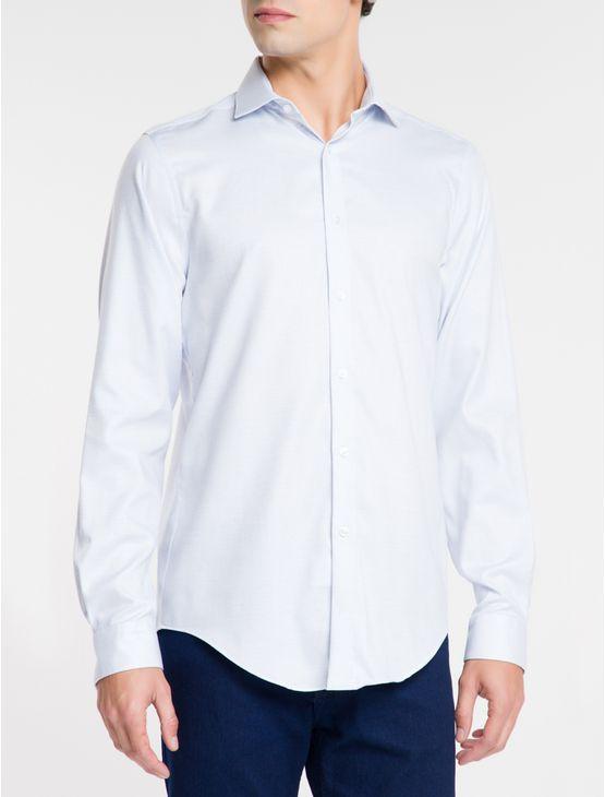 Camisa-Slim-Fit-Ml-Ck-Maquinetado---Azul-Medio-
