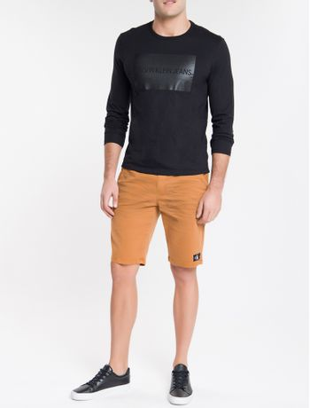 Camiseta-Ckj-Ml-Calvin-Quadrado---Preto-