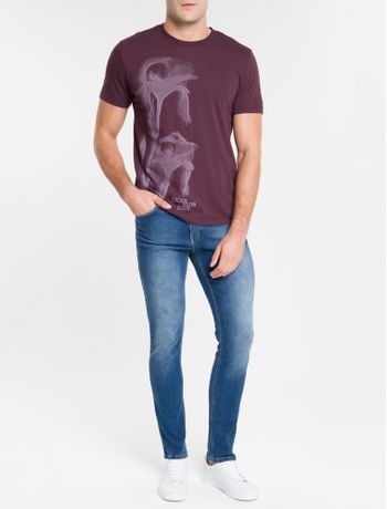 Camiseta-Ckj-Mc-Est-Flor-Glitch---Bordo-