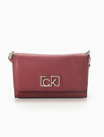 Bolsa-Calvin-Klein-De-Couro-Fivela-Ck---Bordo-