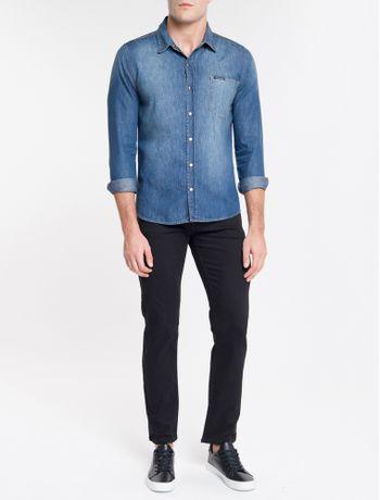 Camisa-Jeans-Manga-Longa-1-Bolso-S-Lapel---Azul-Medio-