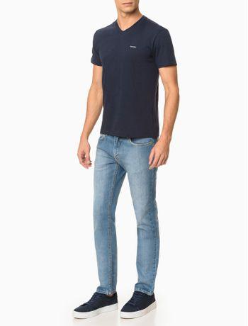 Camiseta-Slim-Flame-Gola-V-Calvin-Klein---Marinho-
