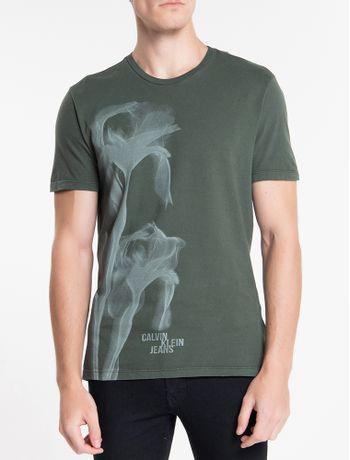 Camiseta-Ckj-Mc-Est-Flor-Glitch---Militar