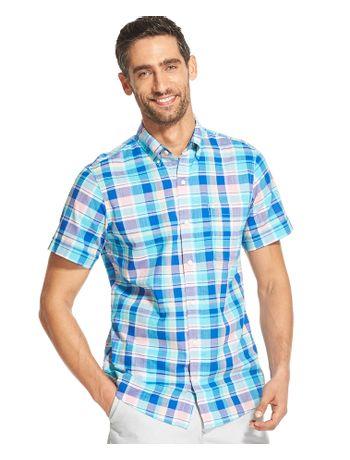Camisa-Xadrez-Manga-Curta-Azul---Loja-Izod