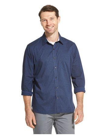 Camisa-Micropadrao--Manga-Longa-Regular-Masculina-Azul