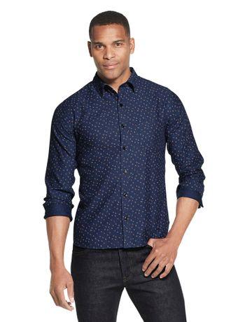 Camisa-Estampada-Manga-Longa-Regular-Masculina-Azul-