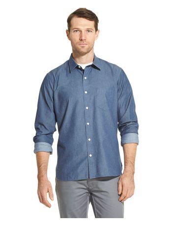 Camisa-Chambray--Manga-Longa-Regular-Masculina-Azul-Indigo