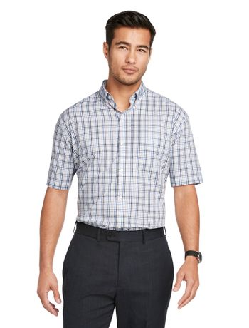 Camisa-Xadrez--Manga-Curta-Regular-Masculina-Cinza-Claro