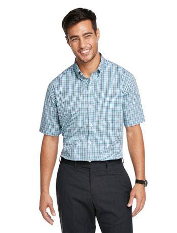 Camisa-Xadrez--Manga-Curta-Regular-Masculina-Branca