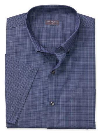 Camisa-Textura-Xadrez--Manga-Curta-Regular-Masculina-Azul