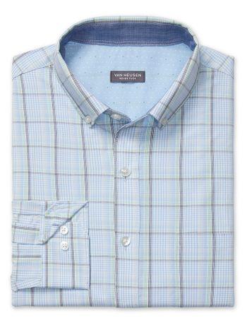 Camisa-Maxi-Xadrez--Manga-Longa-Slim-Masculina-Azul-Claro