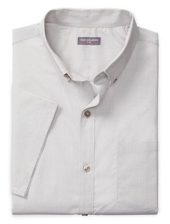 Camisa-Texturizada--Manga-Curta-Slim-Masculina-Cinza