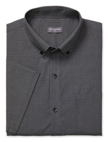 Camisa-Texturizada--Manga-Curta-Slim-Masculina-Preta