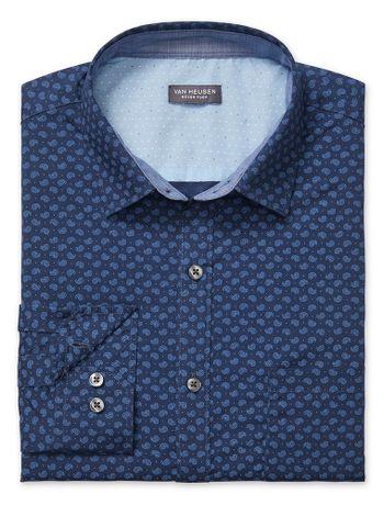 Camisa-Estampada-Manga-Longa-Slim-Masculina-Azul-Marinho-