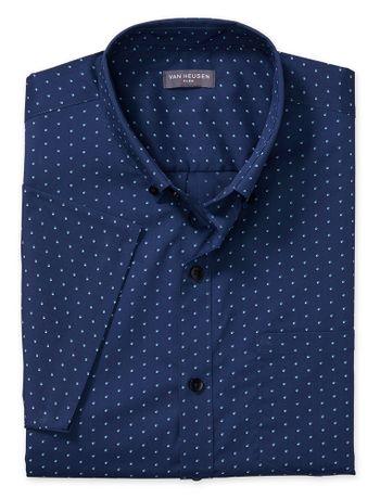 Camisa-Estampada-Manga-Curta-Regular-Masculina-Azul-Marinho
