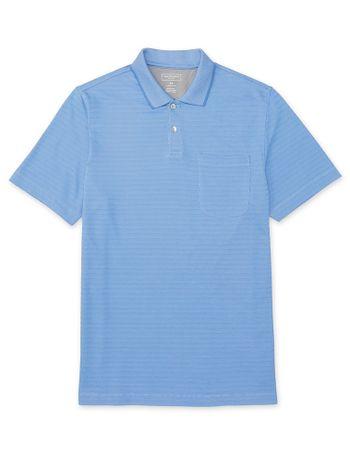 Polo-Manga-Curta-Masculina-Jacard-Bolso-Listras-Azul-Claro