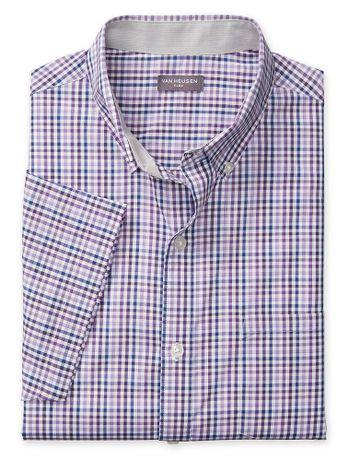 Camisa-Xadrez--Manga-Curta-Regular-Masculina-Lilas