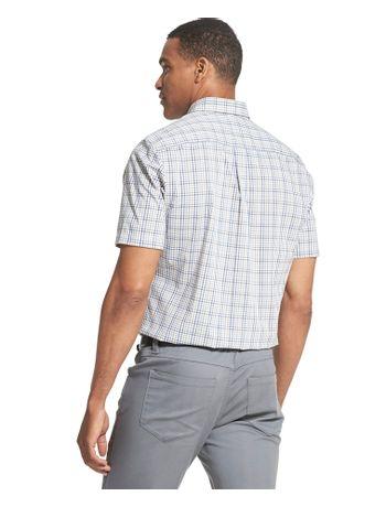 Camisa-Xadrez-Manga-Curta-Regular-Masculina-Cinza