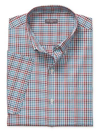Camisa-Xadrez-Manga-Curta-Regular-Masculina-Azul-Claro