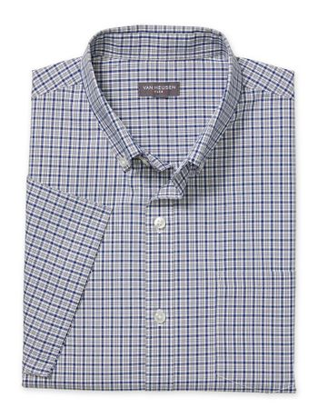 Camisa-Xadrez-Manga-Curta-Regular-Masculina-Azul