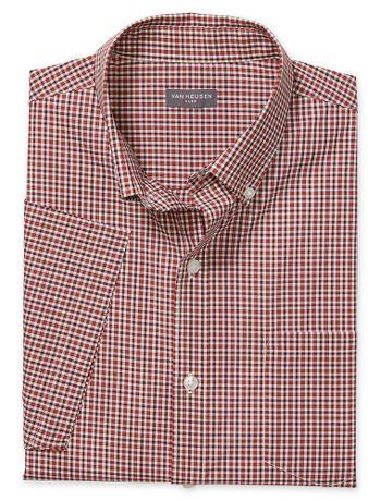 Camisa-Xadrez-Manga-Curta-Regular-Masculina-Vermlelha