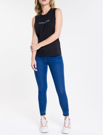 Calca-Jeans-Feminina-Five-Pockets-Super-Skinny-com-Stretch-Cintura-Media-Azul-Royal-Calvin-Klein