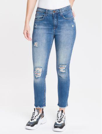 Calca-Jeans-Feminina-Five-Pockets-Slim-Cintura-Alta-Azul-Medio-Calvin-Klein