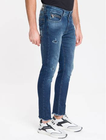 Calca-Jeans-Masculina-Five-Pockets-Skinny-Cintura-Baixa-Azul-Marinho-Calvin-Klein