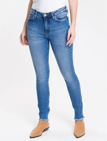 Calca-Jeans-Feminina-Five-Pockets-Super-Skinny-Cintura-Media-Azul-Medio-Calvin-Klein