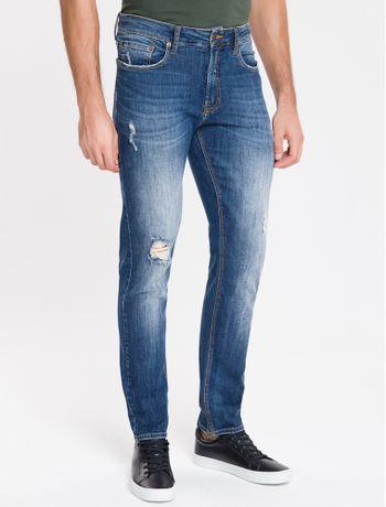 Calca-Jeans-Masculina-Five-Pockets-Slim-Reta-Cintura-Regular-Azul-Marinho-Calvin-Klein
