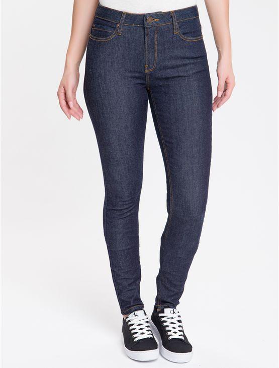 Calca-Jeans-Feminina-Five-Pockets-Super-Skinny-Cintura-Super-Alta-Azul-Marinho-Calvin-Klein