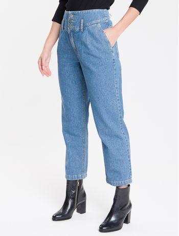 Calca-Jeans-Feminina-Balloon-Cintura-Alta-Azul-Medio-Calvin-Klein