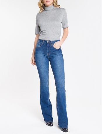 Calca-Jeans-Feminina-Five-Pockets-Flare-Cintura-Super-Alta-Azul-Marinho-Calvin-Klein