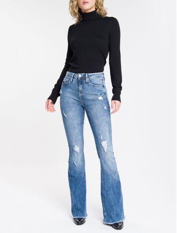 Calca-Jeans-Feminina-Five-Pockets-Flare-Cintura-Super-Alta-Azul-Medio-Calvin-Klein