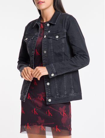 Jaqueta-Jeans-Feminina-Trucker-Bordado-CK-One-Preta-Calvin-Klein