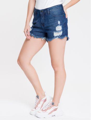 Shorts-Jeans-Feminino-Five-Pockets-Destroyer-Azul-Marinho-Calvin-Klein