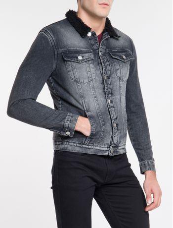 Jaqueta-Jeans-Masculina-Trucker-Forrada-com-Pelucia-Preta-Calvin-Klein