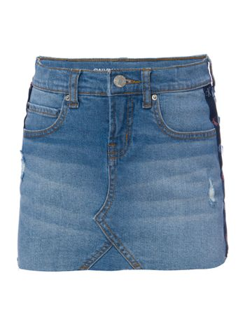 Saia-Jeans-Infantil-Feminina-Five-Pockets-Azul-Clara-Calvin-Klein