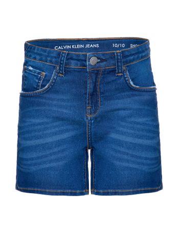Shorts-Jeans-Infantil-Feminino-Five-Pockets-Barra-Dobrada-Cintura-Alta-Azul-Medio-Calvin-Klein