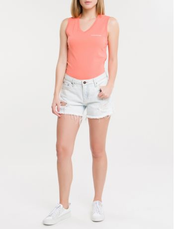 Shorts-Jeans-Feminino-Five-Pockets-Off-White-Calvin-Klein